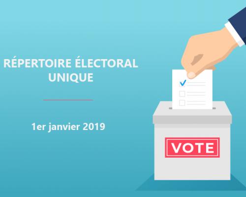 Répertoire Électoral Unique - Entrée en vigueur le 1er janvier 2019